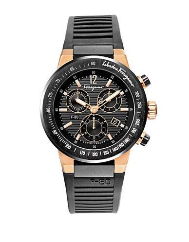 Ferragamo F-80 Titanium Chronograph Silicone Strap Watch-BLACK-One Size