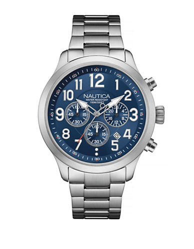 Nautica Chronograph Link Watch-BLUE-One Size