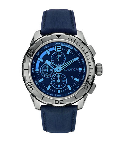 Nautica Chronograph Stainless Steel Leather Strap Watch-BLUE-One Size