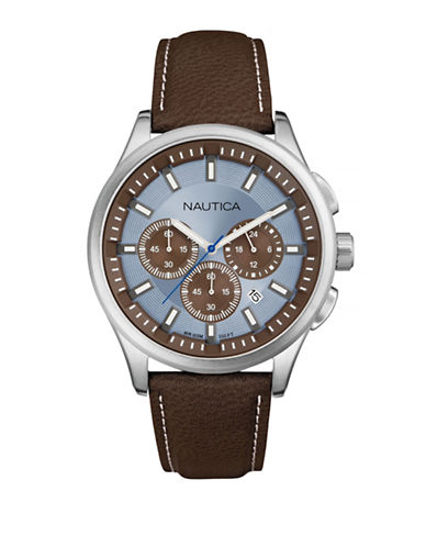 Nautica Modern Multi Function Sporty Leather Strap Watch-BROWN-One Size