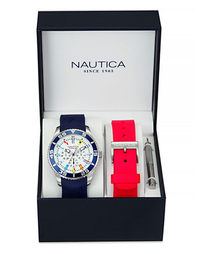 Nautica World Flag Watch with Interchangeable Strap-BLUE-One Size