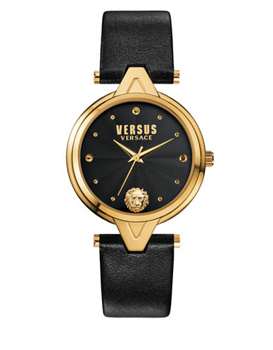 Versus Versace Goldtone Stainless Steel and Leather Strap Watch-BLACK-One Size
