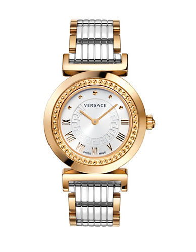 Versace Vanity Analog Goldplated and Silvertone Bracelet Watch-SILVER/GOLD-One Size
