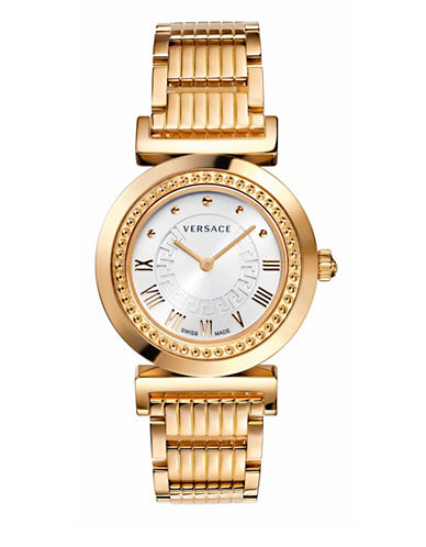 Versace Vanity Analog Rose Goldplated Bracelet Watch-PINK-One Size