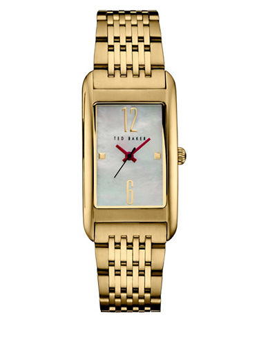 Ted Baker London Analog Pink Mother of Pearl Goldtone Bracelet Strap Watch-GOLD-One Size
