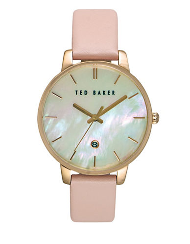 Ted Baker London Analog Pearl Goldtone Leather Strap Watch-PINK-One Size