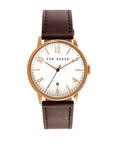 Ted Baker London 10030651 Analog Leather Strap Watch-BROWN-One Size