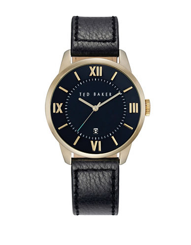 Ted Baker London Stainless Steel Leather Strap Watch-BLACK-One Size