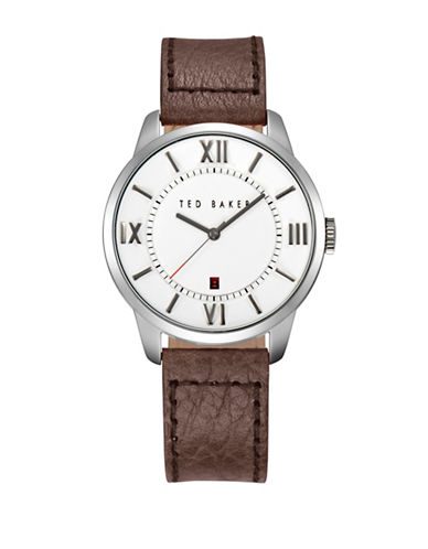 Ted Baker London Stainless Steel Leather Strap Watch-BROWN-One Size