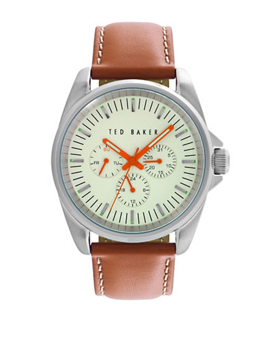 Ted Baker London Classic Analog Stainless Steel Sport Watch-BROWN-One Size