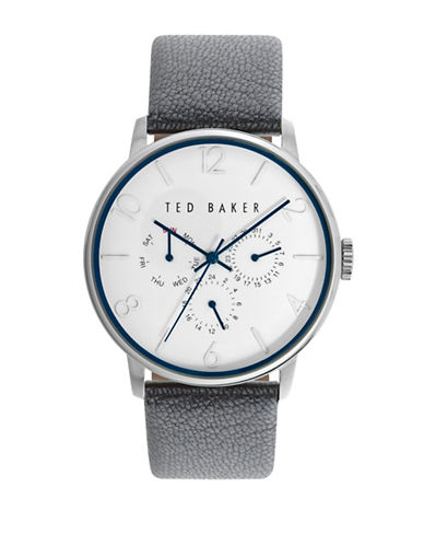Ted Baker London Stainless Steel Textured Leather Strap Watch-GREY-One Size