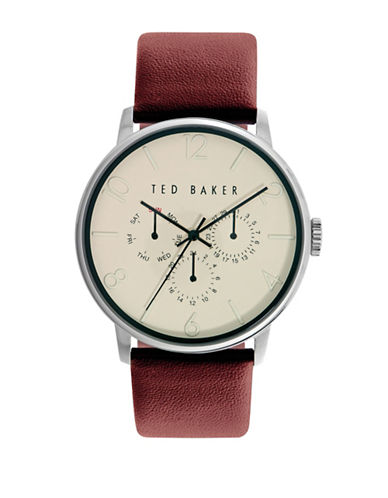 Ted Baker London Stainless Steel Textured Leather Strap Watch-BROWN-One Size