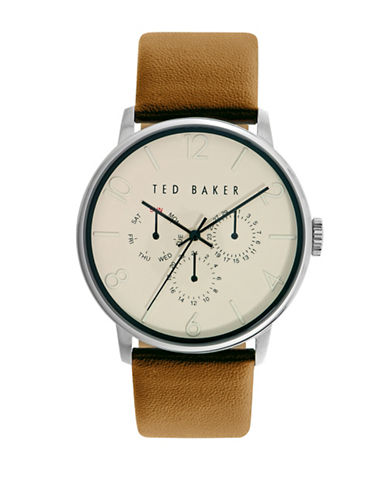 Ted Baker London Stainless Steel Textured Leather Strap Watch-TAN-One Size