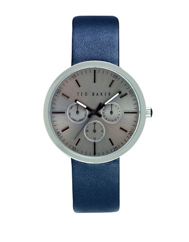 Ted Baker London Stainless Steel Rounded Leather Strap Watch-BLUE-One Size
