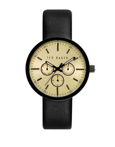 Ted Baker London Stainless Steel Rounded Leather Strap Watch-BLACK-One Size
