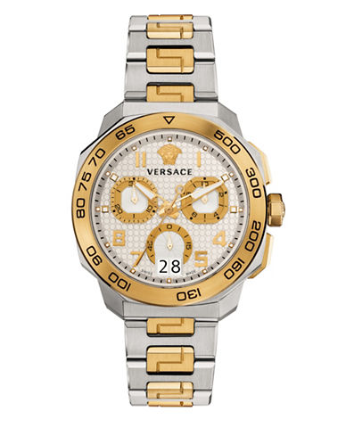 Versace Dylos Chrono Chronograph Two-Tone Bracelet Watch-SILVER/GOLD-One Size