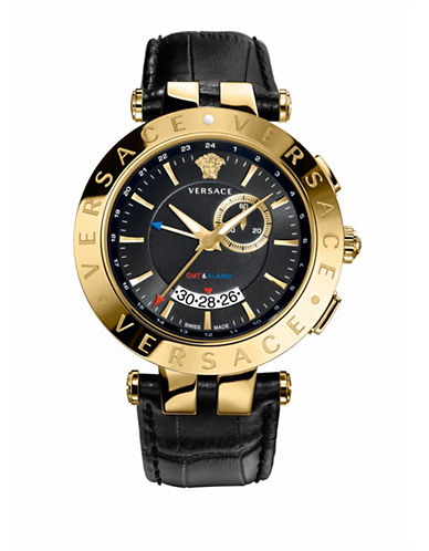 Versace V-Race GMT Alarm Black Leather Strap Watch-BLACK-One Size