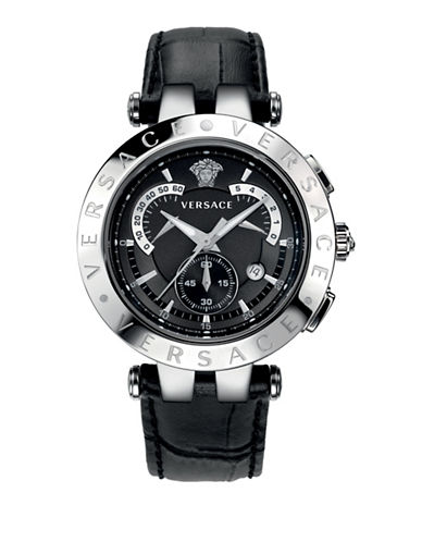 Versace V-Race Chronograph Silvertone and Black Leather Strap Watch-BLACK-One Size