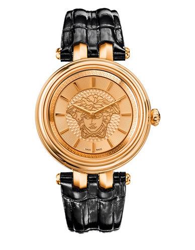 Versace Khai Analog Black Leather Strap Watch-BLACK-One Size