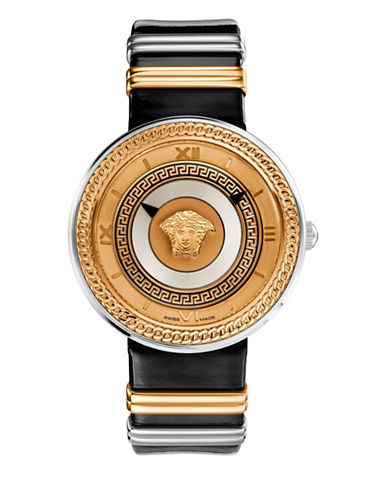 Versace V-Metal Icon Analog Black Leather Strap Watch-BLACK-One Size
