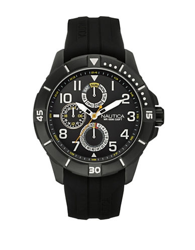 Nautica Multifunction Rubber Band Watch-BLACK-One Size