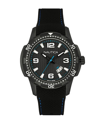 Nautica Analog Textured Contrast Watch-BLACK-One Size