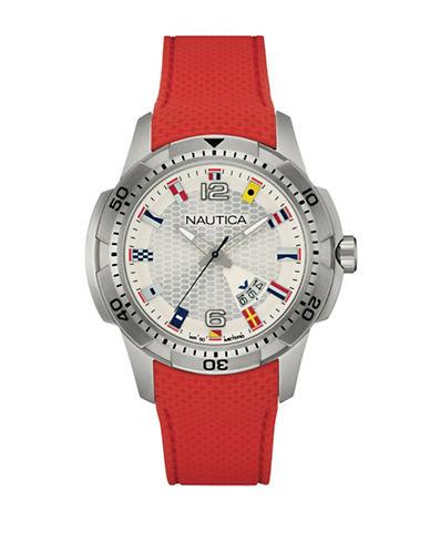 Nautica Multi-Flag Analog Watch-RED-One Size