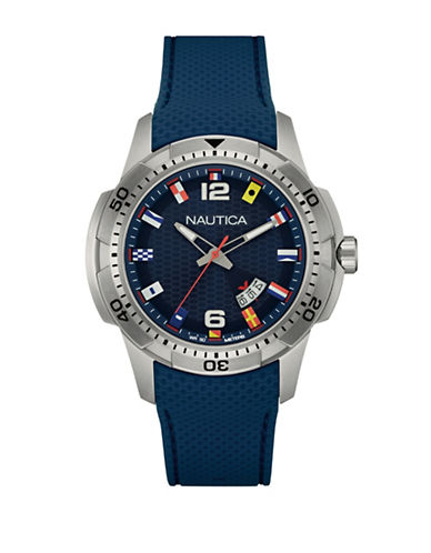 Nautica Multi-Flag Analog Watch-BLUE-One Size