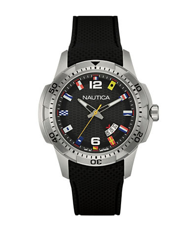 Nautica Multi-Flag Analog Watch-BLACK-One Size