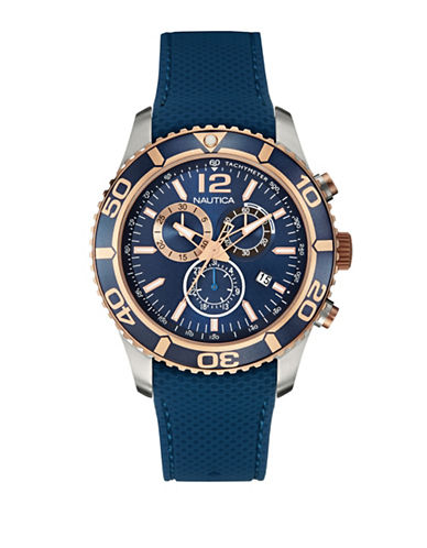 Nautica Blue Silicone and Stainless Steel Chronograph Watch-BLUE-One Size