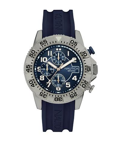 Nautica Chronograph Silicone Strap Watch-BLUE-One Size