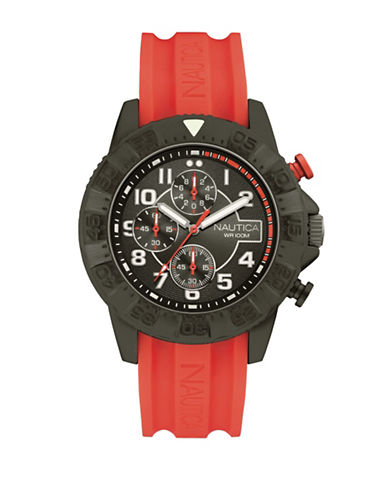 Nautica Chronograph Silicone Strap Watch-RED-One Size