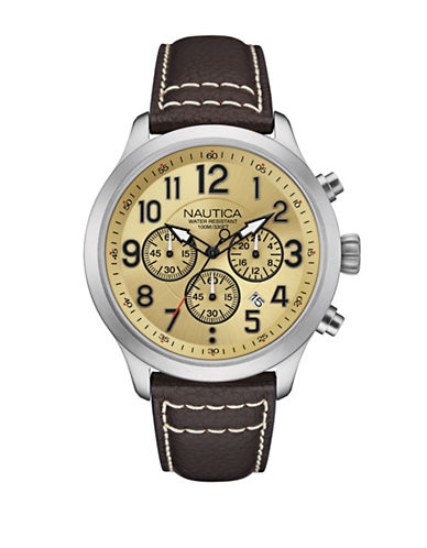 Nautica Goldtone Face Chronologic Watch-BEIGE-One Size