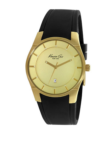 Kenneth Cole New York Analog Goldtone Dial Black Strap Watch-BLACK-One Size