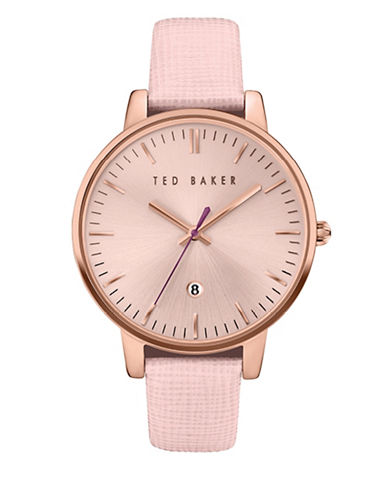 Ted Baker London Analog Rose-Goldtone Leather Strap Watch-PINK-One Size