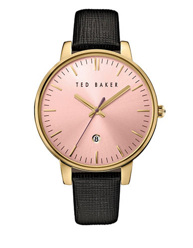 Ted Baker London Analog Two-Tone Leather Strap Watch-BLACK-One Size