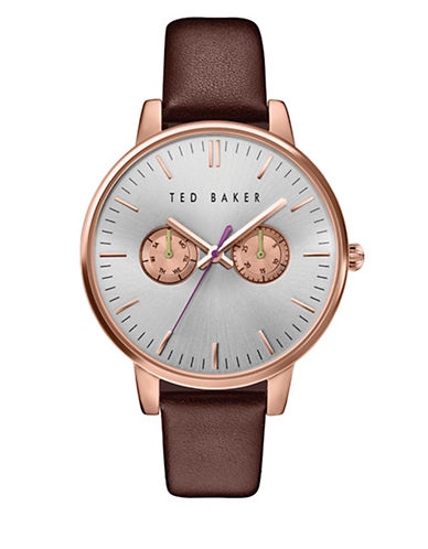 Ted Baker London Analog Two-Tone Leather Strap Watch-BROWN-One Size