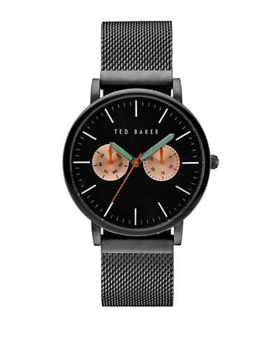 Ted Baker London 10031186 Analog Leather Strap Watch-BLACK-One Size