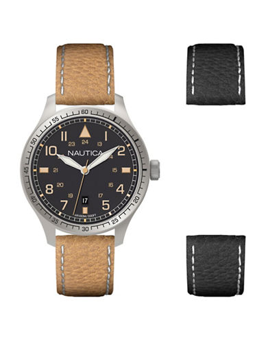 Nautica Analog Tan and Black Leather Strap Watch Box Set-NO COLOR-One Size
