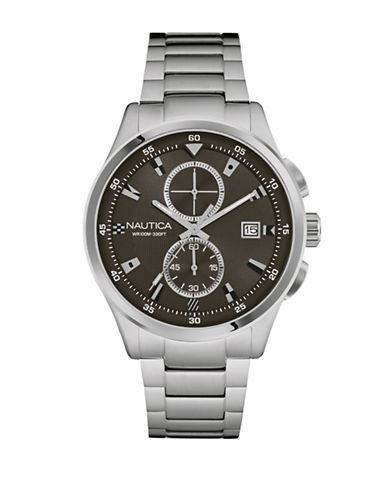 Nautica Chronograph Flags Collection Stainless Steel Bracelet Watch-SILVER-One Size