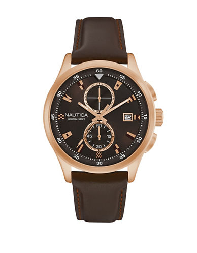 Nautica Chronograph Flags Collection Goldtone Brown Leather Strap Watch-BROWN-One Size