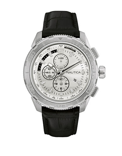 Nautica Chronograph Nautica Black Leather Strap Watch-BLACK-One Size