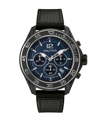 Nautica Chronograph Nautica Black Silicone Strap Watch-BLACK-One Size