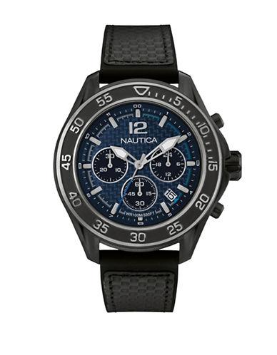 Nautica Chronograph Nautica Black Silicone Strap Watch-BLACK-One Size