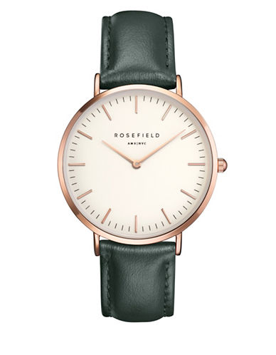 Rosefield The Bowery Analog Rose Goldtone Leather Strap Watch-GREEN-One Size