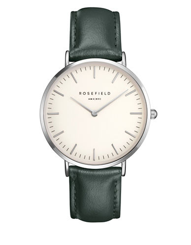 Rosefield The Bowery Analog Silvertone Leather Strap Watch-GREEN-One Size