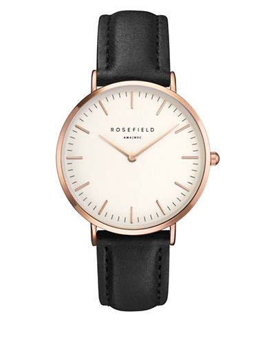 Rosefield The Bowery Analog Rose Goldtone Leather Strap Watch-BLACK-One Size