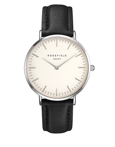 Rosefield The Bowery Analog Silvertone Leather Strap Watch-BLACK-One Size