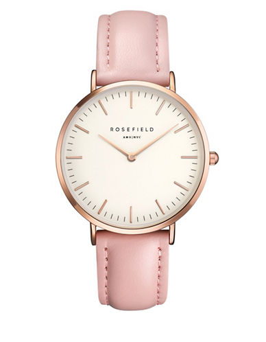 Rosefield The Bowery Analog Rose Goldtone Leather Strap Watch-PINK-One Size