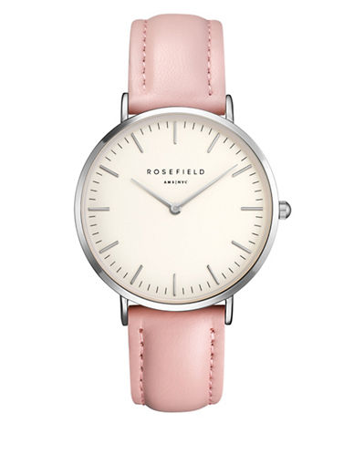 Rosefield The Bowery Analog Silvertone Leather Strap Watch-PINK-One Size